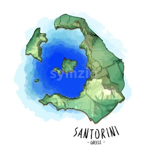 3D map of Santorini Stock Vector