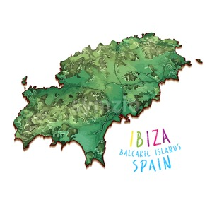 3D Island Map of Ibiza Stock Vector