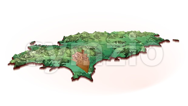 Island Map of Ibiza with drawing Stock Vector