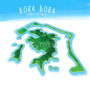 3D Island Map of Bora Bora Stock Vector