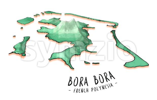 Map Concept of Bora Bora Stock Vector