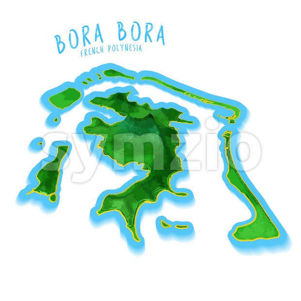 Bora Bora Map with nice background Stock Vector