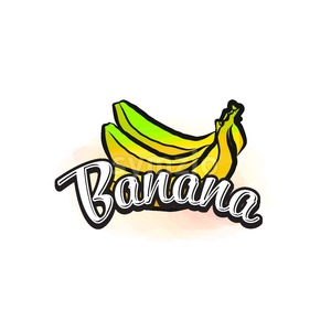 Banana colorful label sign Stock Vector
