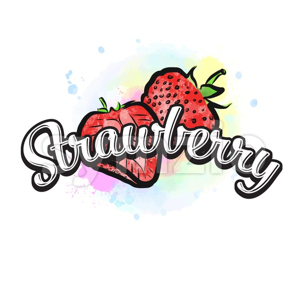 Strawberry colorful label sign. Vector drawing for advertising. Fresh design of colorful fruits made in watercolor style. Modern illustration on ...
