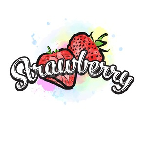 Strawberry colorful label sign Stock Vector