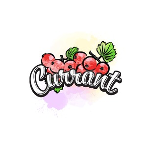 Currant colorful label sign Stock Vector