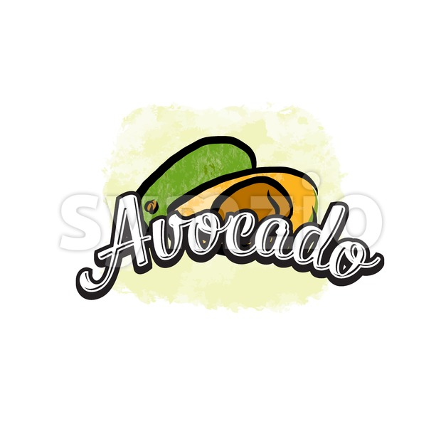 Avocado colorful label sign Stock Vector