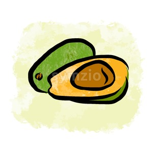 Colored drawing of avocados Stock Vector