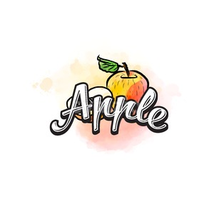 Apple colorful label sign Stock Vector