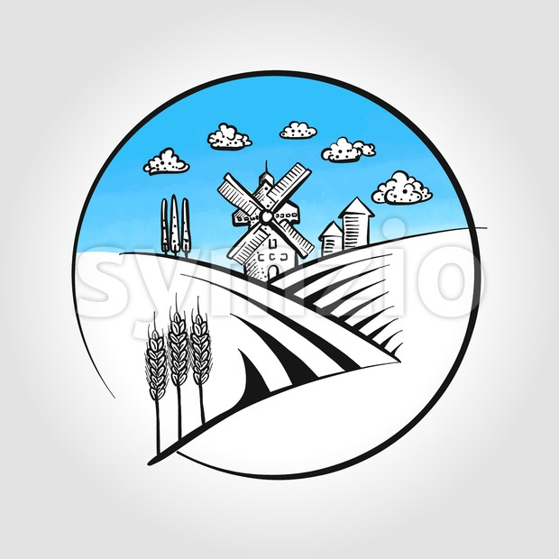 Hand-drawn Windmill icon with landscape Stock Vector
