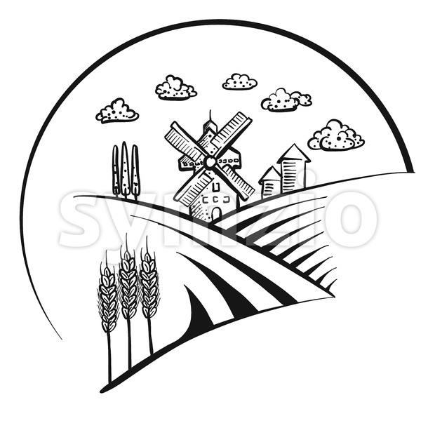 Windmill icon logo sketch Stock Vector