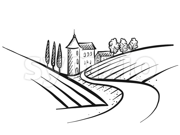 Hand-drawn vector farmland sketch Stock Vector