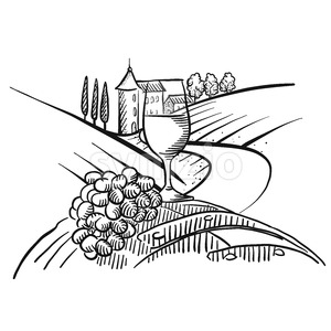 Wine and grapes in front of farmland Stock Vector