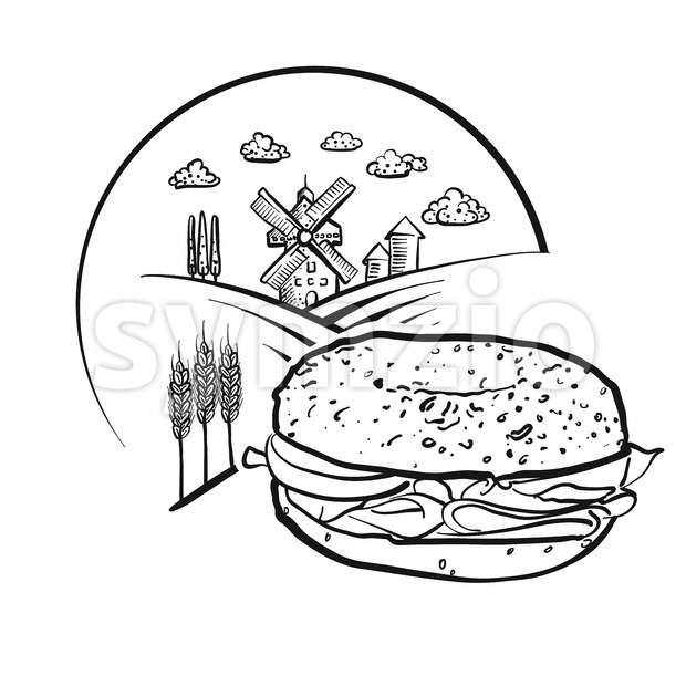 Bagel and Farm Logo Sketch. Vector label sign. Stock Vector