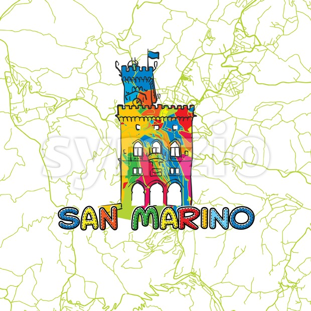 San Marino Travel Art Map with downtown city map in back and colored architecture sign in front. Use for printed ...