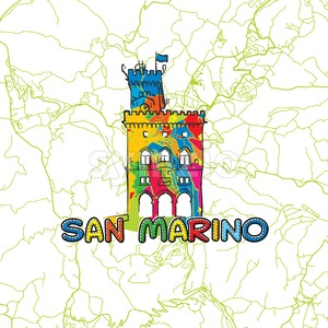 San Marino Travel Art Map Stock Vector