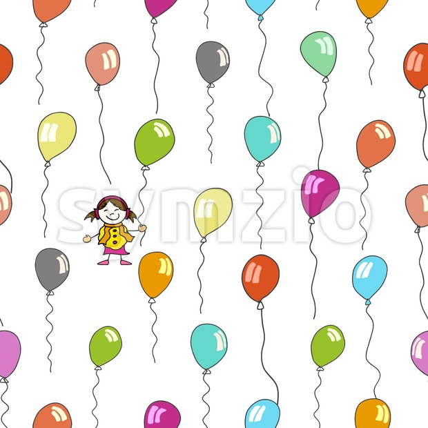 seamless pattern of kid and balloons Stock Vector