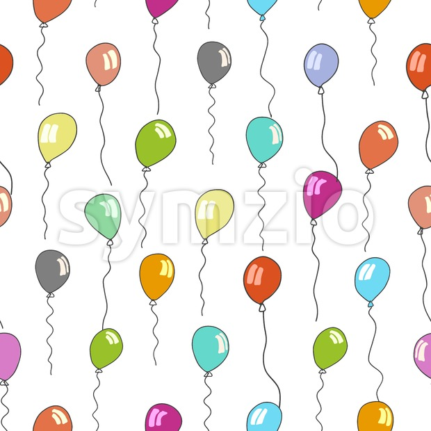 seamless pattern of balloons in various colors Stock Vector