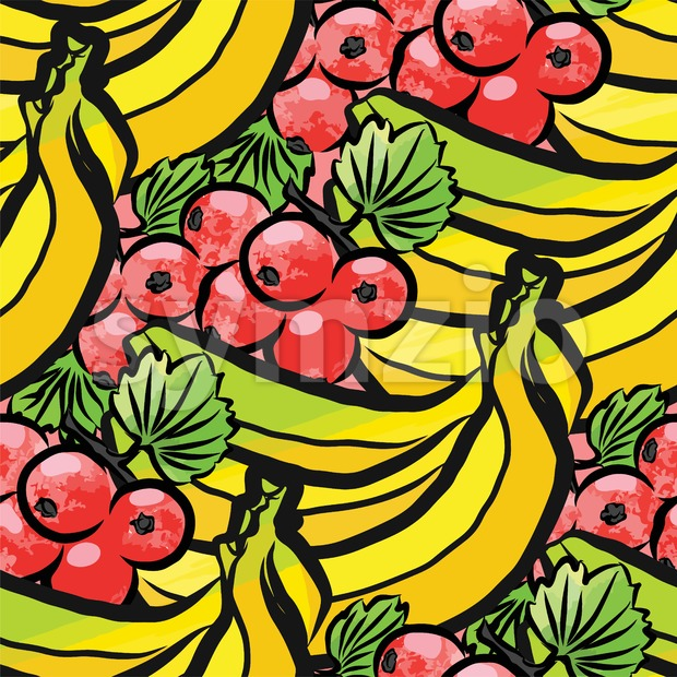 seamless pattern of currant and bananas Stock Vector