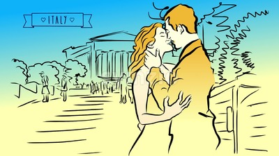 Man kisses Women in Sicily, Italy, Animated Concept Stock Video