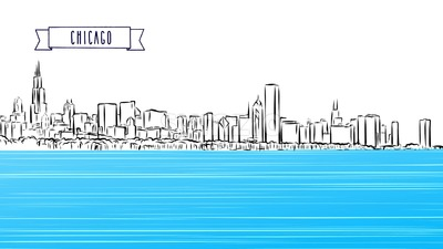 Chicago Panorama Outline Sketch Animation Stock Video