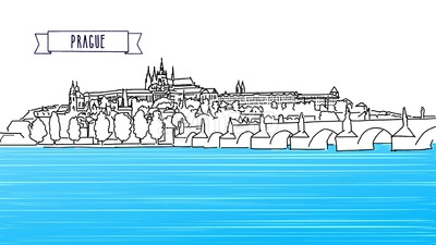 Prague Outline Panorama Animation Stock Video