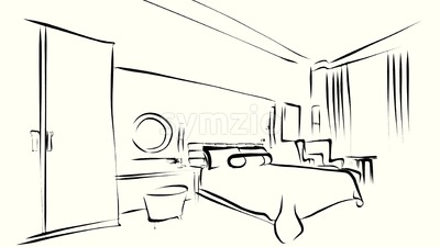 Bedroom interior the morning Outline Sketched Animation Stock Video