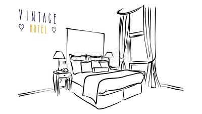 Animated vector illustration Artwork of Hotel room interior with bed Stock Video