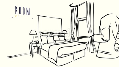 Waitress with filled glasses in Hotel Room Concept Animation Stock Video