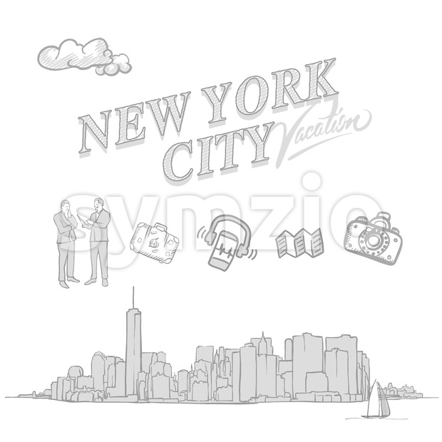 New York City travel sketches, set of hand drawn a vector drawings.