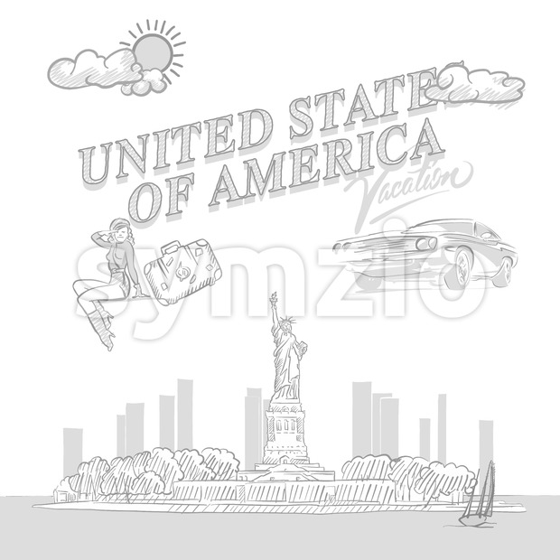 United States travel marketing, set of hand drawn a vector drawings.