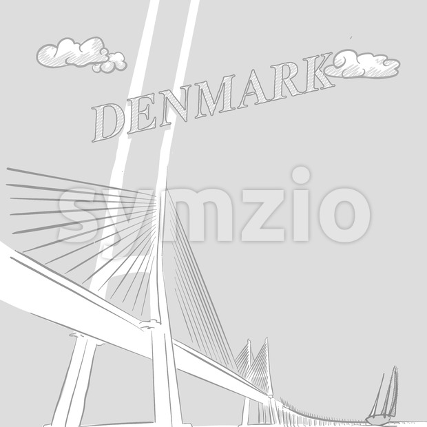 Denmark travel marketing, a hand drawn vector drawing