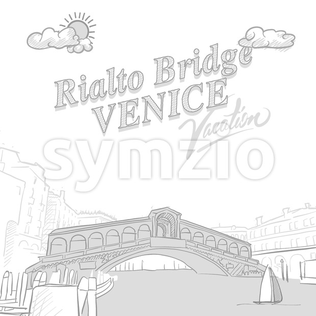 Rialto bridge travel marketing cover Stock Vector