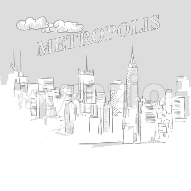 Metropolis travel marketing cover, hand drawn vector