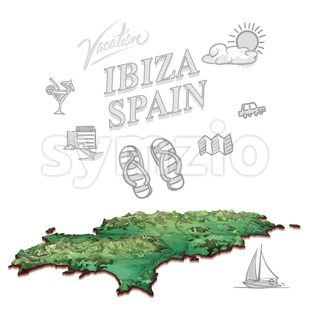 Ibiza, Spain, travel marketing cover Stock Vector