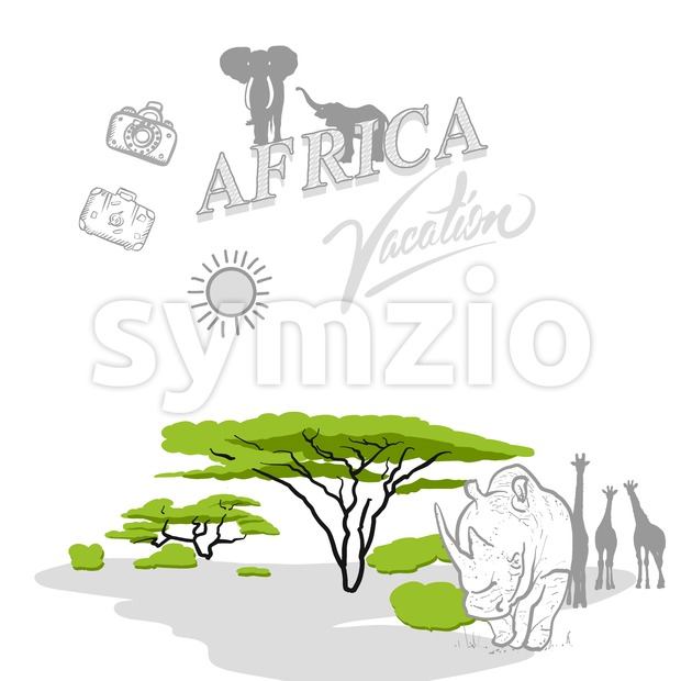 Africa travel marketing cover, set of hand drawn a vector drawings.