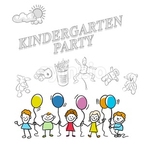 Kindergarten party marketing cover Stock Vector