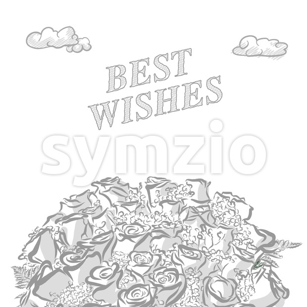 Best wishes marketing cover, hand drawn a vector sketch