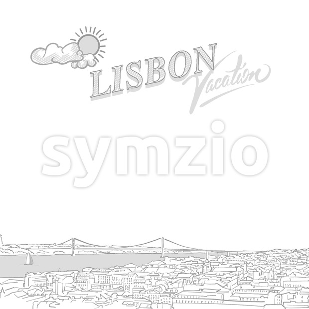Lisbon travel marketing cover Stock Vector