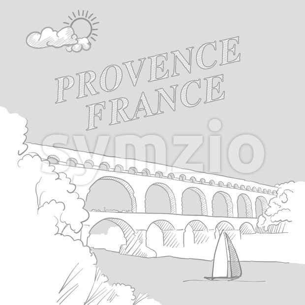 Provence, France travel marketing cover Stock Vector