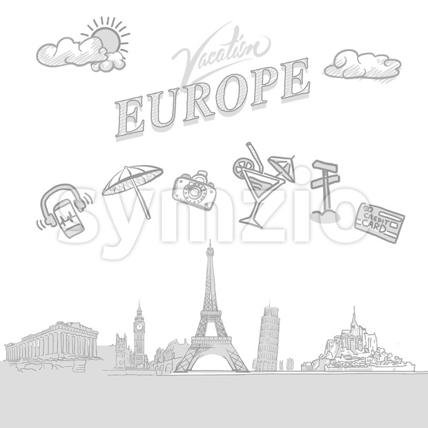 Europe travel marketing cover Stock Vector