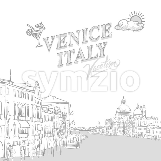 Venice travel marketing cover, set of hand drawn a vector sketches