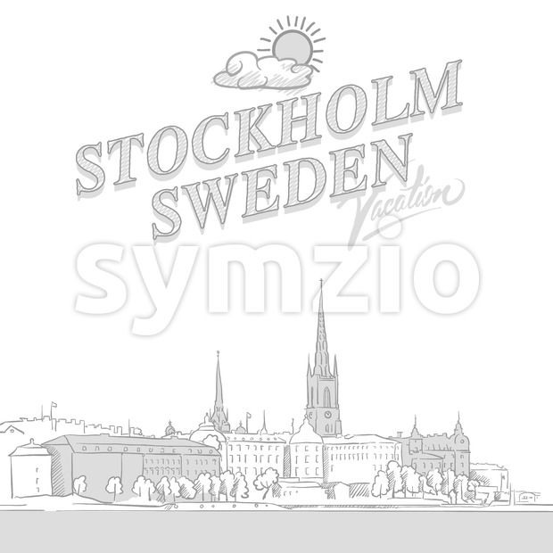 Stockholm travel marketing cover, set of hand drawn a vector sketches