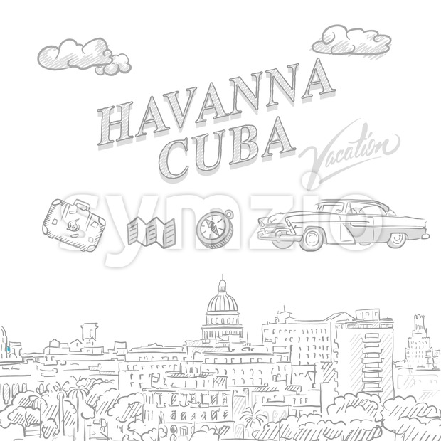 Havanna, Cuba, travel marketing cover Stock Vector