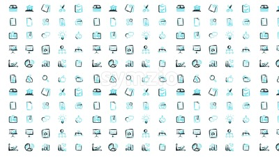 Hand Sketched Business Icon Set Animation Stock Video