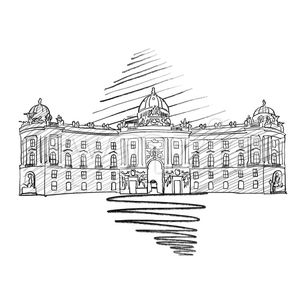 Vienna Hofburg Famous European Architecture Drawing, Hand-drawn Vector Illustration