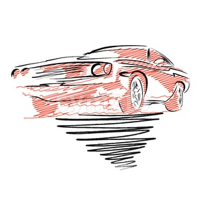 Vintage muscle car drawing Stock Vector