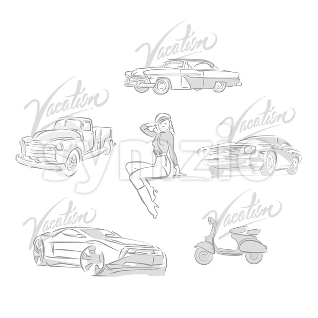 Set of vintage and modern cars drawings. Hand drawn vector illustrations.