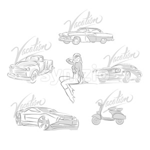 Set of vintage and modern cars drawings Stock Vector