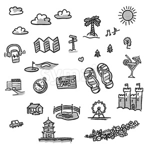 Set of travel icons drawings Stock Vector